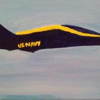 I love to watch the Blue Angels fly. This iwas a picture of the jet in flight. Later I would decide to paint it.