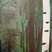 This painting is not for sale. It was painted for my brother George who  has a great love of the woods.