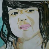 news Paper oil paint with water colour stroke in big size potrait