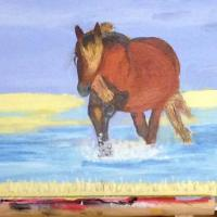 I love horses and this one was just so beautiful and the colours superb. This painting is on a board.