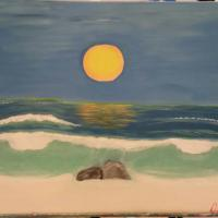 This is a painting inspired by the sunsets on South Beach