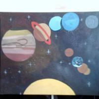 An Acrylic Painting of the Planets, which is the first out of 5 Planet Paintings. I will be selling any of my paintings, only if I can get them turned into a prints