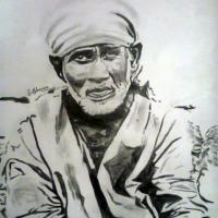 Sketch of Sai Baba with pencil