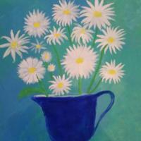 This daisies is a reminder of the wild daisies that grow all over the island