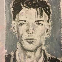 Oil pastel on watercolor post card. It is based on the famous mugshot photo of Frank Sinatra.