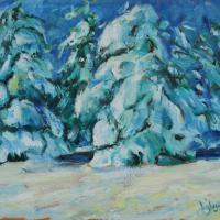 This painting shows snow-covered fir trees, in the strict, winter night.