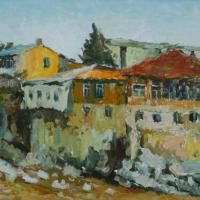 This painting shows old houses, built in the beginning of 20th century and white stones of river Rioni.