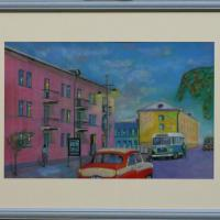 A pastel painting on paper in a passe-partout under the glass in a frame. The artwork has been strung at the back and ready to be hung onto the wall. 