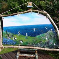 This marine celebration of the wonderful puffins is lashed to a driftwood frame, like a sail, with eyelets. It was on a visit to the Treshnish Isles not far from Staffa that we saw them among bluebells. However, some of the characters seen here were gathe