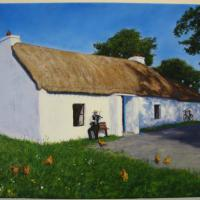 I'm the fiddler here in this Irish rural idyll. The painting is unframed.