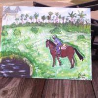 This is a piece I painted for my step dad he loved this horse and it passed years ago. I choose a Florida background as that's a ranch I grew up on.