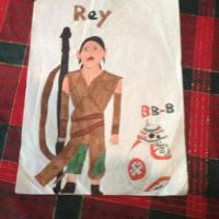 My artwork is the new Star Wars characters Rey and BB-8 that appear in Star Wars:The Force Awakens.