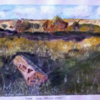 I FOUND THIS OLD FENCE POST LYING IN A PADDOCK ON A FARM NEAR CROOKWELL NSW, AFTER FENCING HAD FINISHED. IT WAS A BEAUTIFUL QUIET PLACE IN THE LATE AFTERNOON. SHADOWS WERE  BECOMING LONG SO I TOOK A PHOTO AND PAINTED IT FROM THAT. THIS IS THE RESULT I HOP