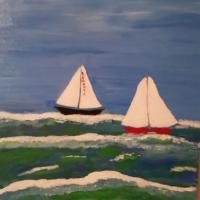 This painting is inspired by the sailing races that take place just off the island of Martha's Vineyard.