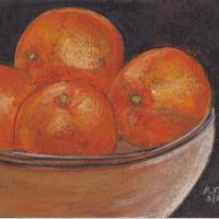 Bowl of oranges painted in soft pastels