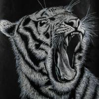 Recent oil painting of the tiger roaring