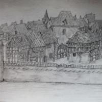 Impression of a 14th century town.