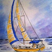 Sailboat painted in Watercolour