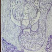 drawing of a mermaid under the sea
