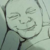 Drawing of a baby smiling