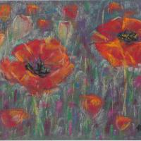 Poppies painted with soft pastels