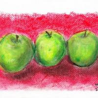 Green apples painted in soft pastels