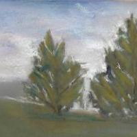 Small landscape painted with Sennelier Soft Passtels on Sennelier Pastel Card