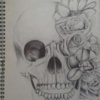 Goth skull with flowers