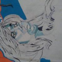 Cosmic woman was a vision. She is part of my mix media on my bedroom's large wall mural I see her as. One of the queens of graffiti fairly large 25x30