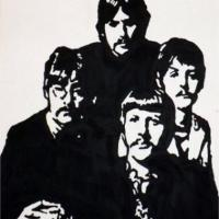 Silhouette painting of the Beatles on 30x40cm stretched canvas. Can paint to order using different colour or canvas size to meet your specification. Price varies with different sized canvas
