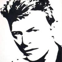 Silhouette painting of David Bowie on 30x40cm stretched canvas. Can paint to order using different colour or canvas size to meet your specification. Price varies with different sized canvas