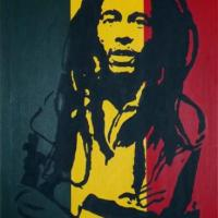 Silhouette painting of Bob Marley with Jamacian flag background on 30x40cm stretched canvas. Can paint to order using different colours or canvas size to meet your specification. Price varies with different sized canvas
