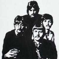 Silhouette painting of the Beatles on 20x20cm stretched canvas. Can paint to order using different colour or canvas size to meet your specification. Price varies with different sized canvas