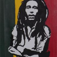 Silhouette painting of Bob Marley with Jamacian flag background on 20x25cm stretched canvas. Can paint to order using different colour or canvas size to meet your specification. Price varies with different sized canvas