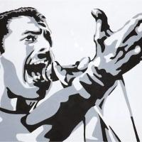 Silhouette painting of the Freddie Mercury on 50x40cm stretched canvas. Can paint to order using different colour or canvas size to meet your specification. Price varies with different sized canvas