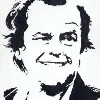 Silhouette painting of Jack Nicholson 20x25cm stretched canvas. Can paint to order using different colour or canvas size to meet your specification. Price varies with different sized canvas
