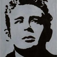 Silhouette painting of James Dean with grey background on 20x25cm stretched canvas. Can paint to order using different colour or canvas size to meet your specification. Price varies with different sized canvas