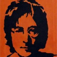 Silhouette painting of John Lenno on irridescent orange background on 20x25cm stretched canvas. Can paint to order using different colour or canvas size to meet your specification. Price varies with different sized canvas