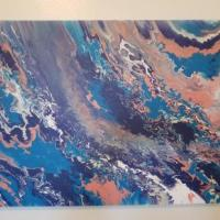 Original Fluid Painting abstract painting made with acrylic paint and finished with varnish