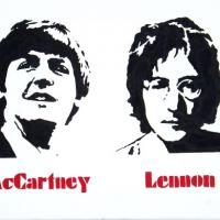 Silhouette painting of Lennon & McCartney on 30x40cm stretched canvas. Can paint to order using different colour or canvas size to meet your specification. Price varies with different sized canvas