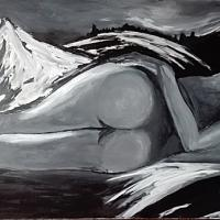 Acrylic painting, black and white, 160cm x 100cm, part of Meran1,2,3 naked women before mountain scene