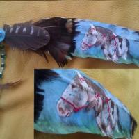 beaded oil painting turkey feather