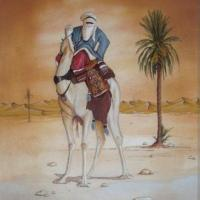 it has been made with natural sand , glue and watercolor ...the camel rider (touareg people)