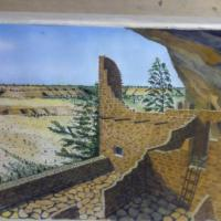 This is a depiction of the Anasazi indian Cliff Dwelling. Signed original