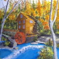 This is a depiction of a old grist mill in spring. Signed original