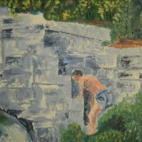 Impressionistic oil on canvas painting of boy climbing wall of waterfall for long deceased mill.