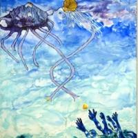 Original artwork created with encaustic on canvas. Depicting the shell angel or Diva dispensing newly created shells into the sea and the waiting arms of the sea sprites.