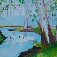 painting of swans in a creek