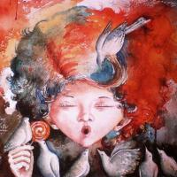 this work is painted on paper. water color medium. size - 11*14 inches ( without frame)