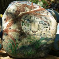 This hand painted rock is 120 pounds with a protective finish.